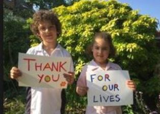 Two refugees express their thanks