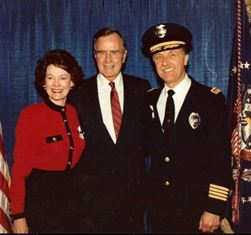 Police Chief Hal Fischer and Sharon with President H.W. Bush
