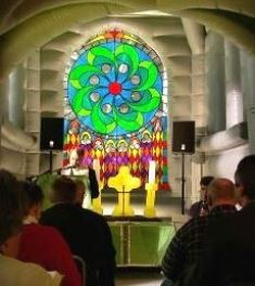 Inside the inflatable church