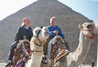 Bonnie and Mike Donahue former PR for McDonalds at the Egyptian Pyramids