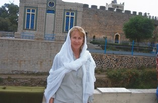 Bonnie in front of St Marys of Zion Church Axum Ethiopia