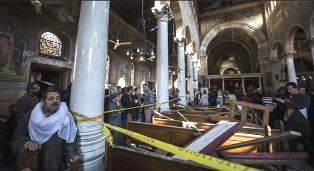 Scene inside Cairo church after bomb blast