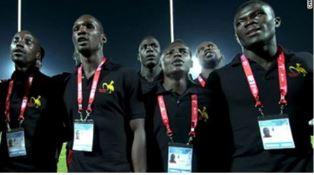 Ugandan rugby team singing