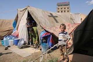 mi Family in refugee camp in yard of St Elia Church in Erbil Iraq 01 28 2017