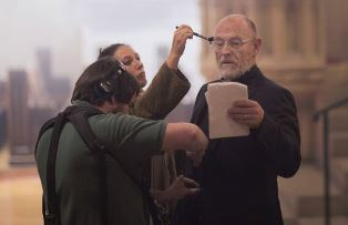 Corbin Bernsen being made up for his role in In Lawfully Yours