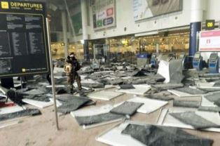 Devastation in the Departure lounge in Brussels