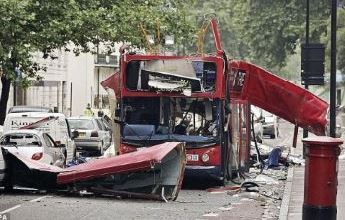 Double decker bus blown up use