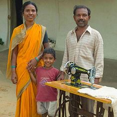Family with sewing machine