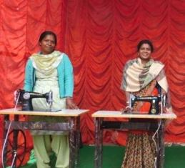 women with sewing machines use