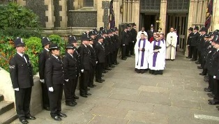 Clergy and police at Southwark Cathedral