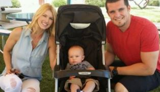 Derek Carr with Heather and child