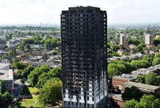 Burned Grenfell Tower