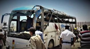 Bus with copts in attacked