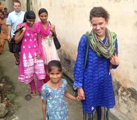 Lauren with friend in India smaller