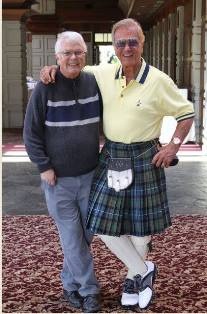 Dan Wooding with Pat Boone wearing a kilt