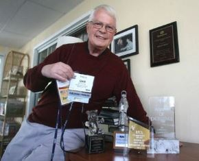 Dan Wooding with his media credentials and awards smaller