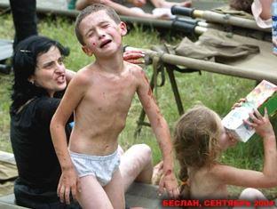 Agony on faces on Beslan children