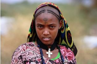 An eritrean girl with the cross