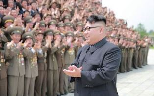Kim Jong un with military use