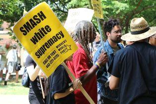 Protestors at Klan rally use