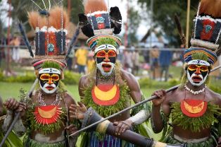 Three warriors in PNG