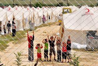 Children inside a Turkish refugee camp