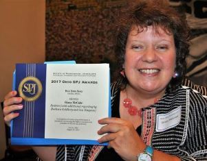 Ginny McCabe with her award smaller