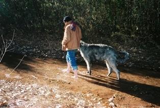 JameswithhisIrishwolfhound