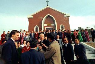 Ned and Billy Graham visit North Korean church