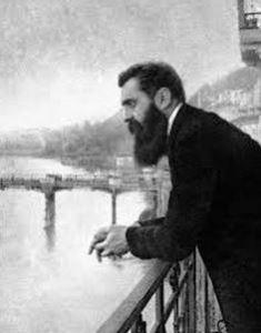 Theodor Herzl on Basel balcony.JPG smaller