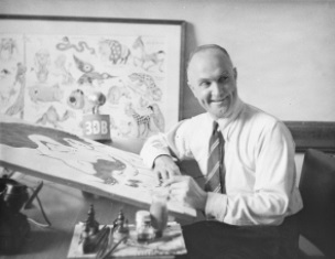 Kerwin Maegraith at his drawing desk in the Sixties smaller