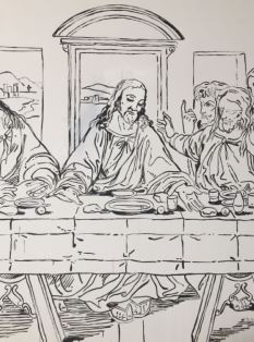 Last supper in black and white