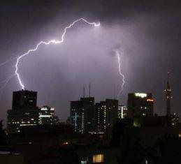 Lightening strike over Tel Aviv smaller