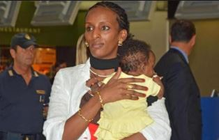 Mariam Ibrahim arrives in America with her child