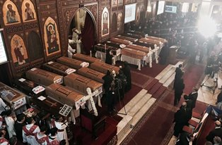 Coffins laid out in Cairo church