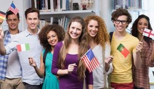 International students with flags smaller