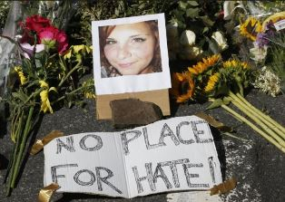 Makeshift memorial to Charlottesville victim Heather D. Heyer smaller