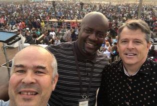 Peter and film crew in Lagos smaller