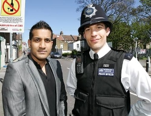 Wilson Chowdhry with British Policeman