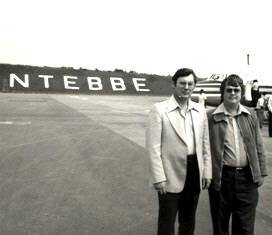 Barnett and Wooding at Entebbe Airport smaller