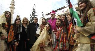 Catholic leader with others in Bethlehem