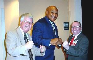 mi Dan Wooding George Foreman and Michael Ireland 2004