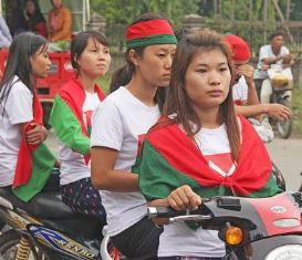 Girls in Burma on Motorcycle smaller