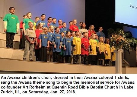 mi An Awana choir of young children sang at Art Rorheims memorial service 01 29 2018