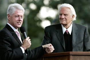 Bill Clinton with Billy Graham smaller