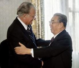 Billy Graham with Kim il Sung smaller