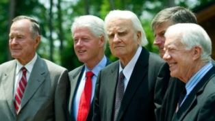 Billy Graham with presidents smaller