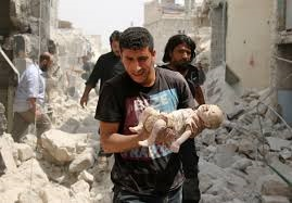 Man carrying child in Aleppo smaller use