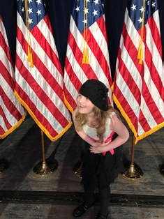 Sofia on stage at the National Prayer Breakfast smaller