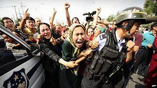 Uyghur people protesting smaller